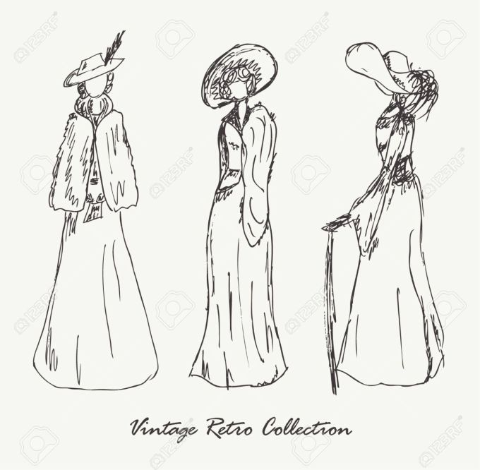 wppixvintage-dresses-Hand-drawn-collection-of-moder-Stock-Vector