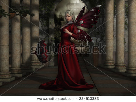 fairy-queen-with-a-parasol-strolling-in-a-224513383
